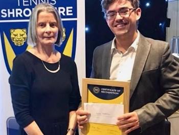 The Shrewsbury Club's Simon Haddleton among the winners at Tennis Shropshire's British Tennis Awards dinner